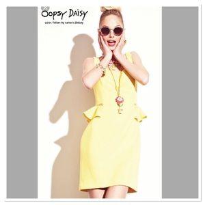 Betsey Johnson peplum yellow dress with zippers